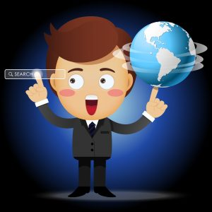 businessman with globe and pointing search bar - Illustration
