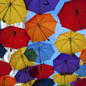 Coloured Umbrellas in the Air
