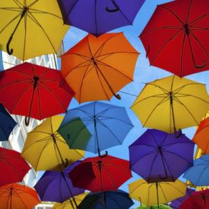 Coloured Umbrellas in the Air