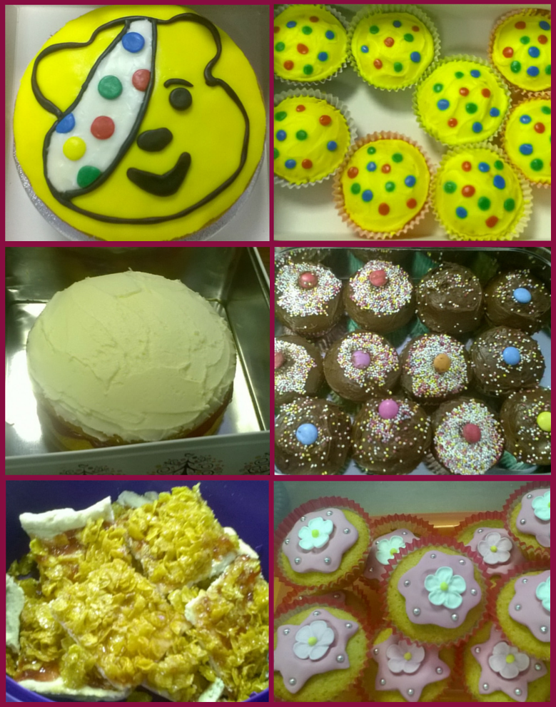 Pudsey Bear cake & cupcakes, baked by Sara, one of our Client Account Managers Chocolate cupcakes, baked by Anna, our Marketing Manager Victoria sponge cake, baked by Martin, our Operations Manager Cornflake jam tart, baked my Miranda, our Marketing Assistant Flower cupcakes, baked by Elliot, one of our Customer Services Executives