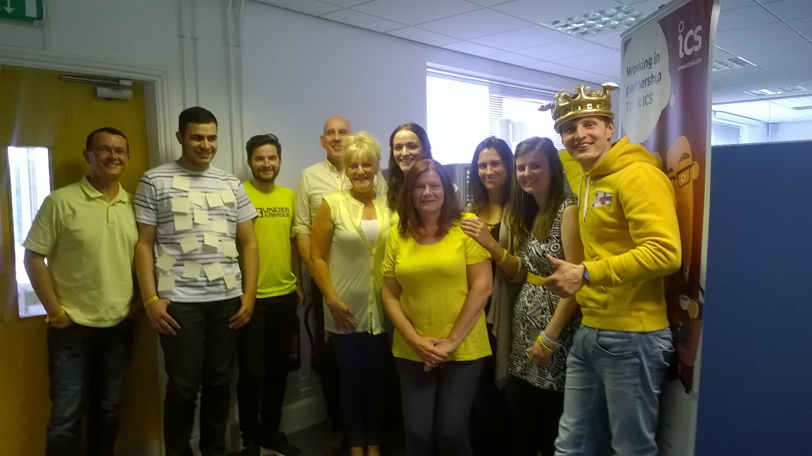 Some of the ICS Team wearing yellow for Dementia Awareness Week