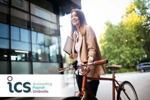 Business woman with bike ICS Accounting